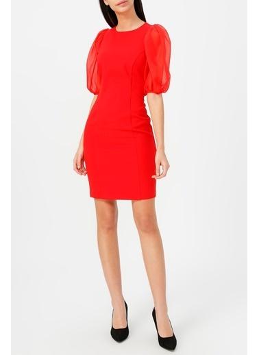 Random Kadın Balon Kol Yuvarlak Yaka Elbise Kırmızı